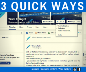 Quick ways to create Facebook Content