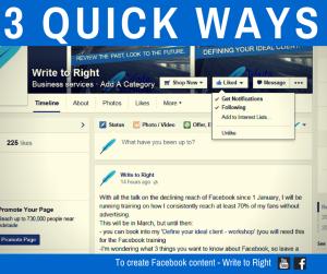 Quick ways to create Facebook Content