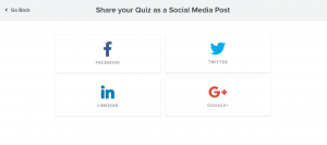 Promote to social through Interact quiz builder