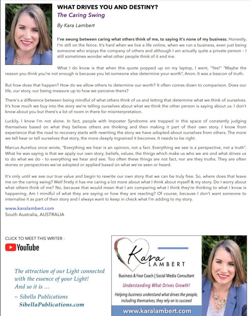 The Caring Swing Sibyl Magazine article March 2020 by Kara Lambert