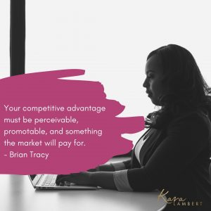 Pin quote Brian Tracy about competitive advantage in small business